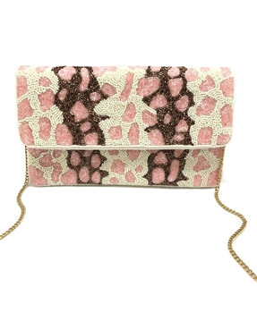Pink Cream Leopard Beaded Clutch LAC-SS-431