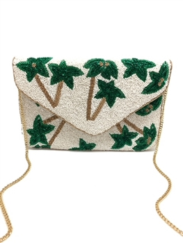 Plam Tree Beaded Clutch Bag  LAC-SS-434