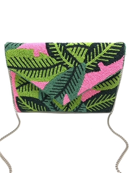 Leaf Pink Beaded Clutch Bag LAC-SS-435
