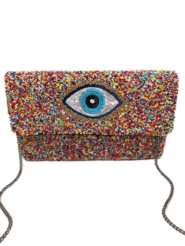 Multi Eye Beaded Clutch Bag LAC-SS-440
