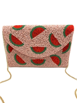 Pink Watermelon Beaded Clutch Bag LAC-SS-443
