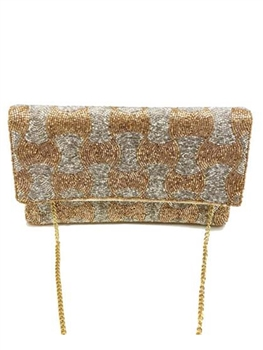 Two Tone Swirl Beaded Clutch Bag  LAC-SS-445