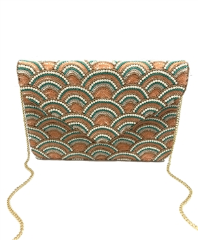 Leaf Pink Beaded Clutch Bag LAC-SS-451