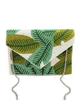 Plam Leaf Green Beaded Clutch Bag LAC-SS-456