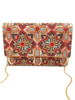 Floral Beaded Gold Sequin Clutch LAC-SS-462