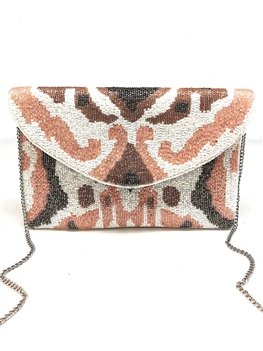 Nude Color Beaded Clutch Bag LAC-SS-7003