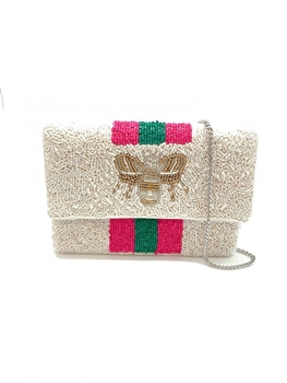 Mini BEE-You Striped Beaded Clutch LMC-120