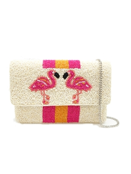 Flamingo And Stripes Bead Clutch Bag LMC-128