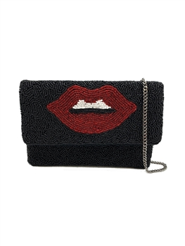 Red Lips Beaded Clutch Bag LMC-129 - Black
