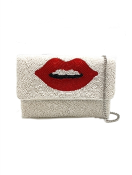 Red Lips Beaded Clutch Bag LMC-129 - White