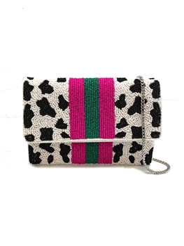 Cow Print Pattern Beaded Mini Clutch LMC-133