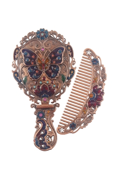 Vintage Classic Women Desk Butterfly Metal Mirror And Comb  M0392 - Copper - M