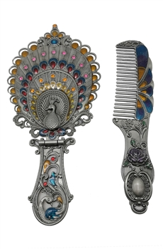 Classical Peacock Metal Mirror Set M0408 - Silver