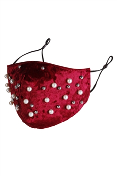 Pearl CCB Velvet Face Mask MASK-48-1 - Red