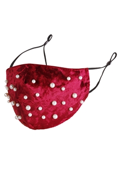 Pearl Velvet Face Mask MASK-48 - Red