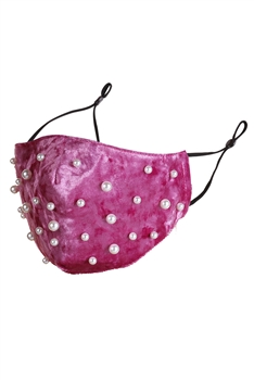 Pearl Velvet Face Mask MASK-48 - Rose Red
