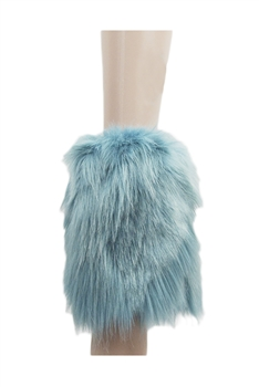 Faux Fur Flat Cuffs Boot Socks 40CM  MIS0451 - Blue