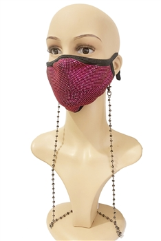 Crystal Beads Metal Chain Mask Holder MN1163-4MM