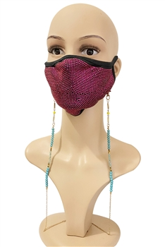 Crystal Beads Metal Mask Holder MN2302 - Blue