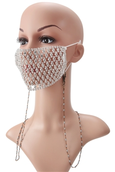 Crystal Beads Mask Holder MN3065 - Blue
