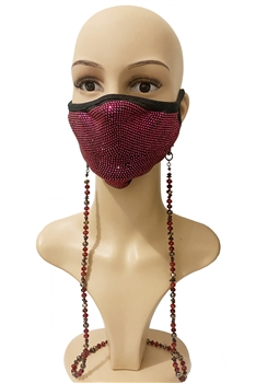 Crystal Beads  Mask Holder MN3147 - Red