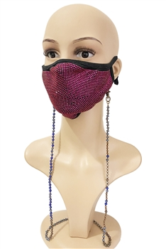 Crystal Beads Mask Holder MN3333 - Navy Blue