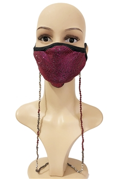 Crystal Beads Mask Holder MN3333 - Red