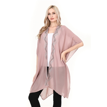 Dimond Boarded Studs Poncho-Pink