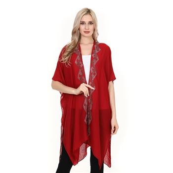 Dimond Boarded Studs Poncho - Red