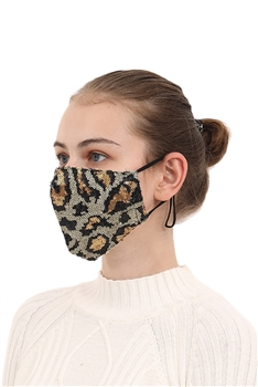 Leopard Sequin Face Mask MASK-28