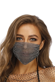 Grid Rhinestone Crystal Mask-1 - Black-Multi