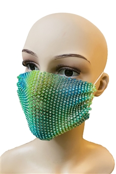 Grid Rhinestone Crystal Mask-1 - Green