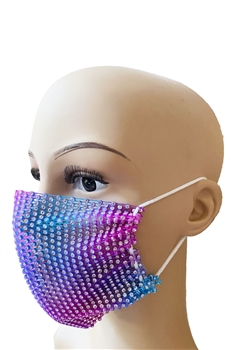 Grid Rhinestone Crystal Mask-1 - Purple-Blue