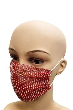 Grid Rhinestone Crystal Mask-1 - Red
