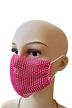 Grid Rhinestone Crystal Mask-1 - Rose Red