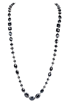 Crystal Long Necklaces N1130 - Gun Metal
