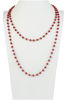Red Crystal Beads Long Chain Necklaces N1163-12