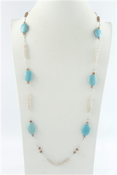 Turquoise Crystal Long Necklaces N1313