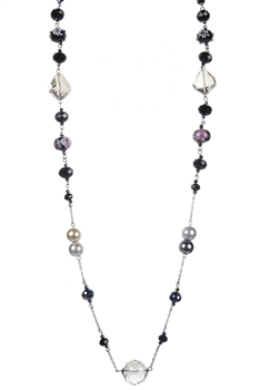 Pearl Crystal Costume Jewelry Necklaces N1484 - Black