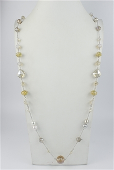 Pearl Crystal Costume Jewelry Necklaces N1484 - Champagne