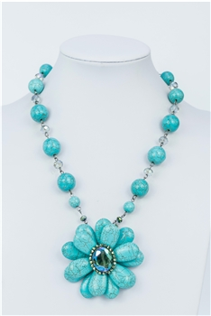 Flower Turquoise Pendant Necklaces N1692