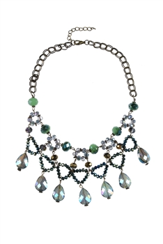 Bohemian Women Water Drop Crystal Necklace N1790 - Green