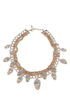 Exaggerated Crystals Skeleton Collar Necklace N2002 - Gold