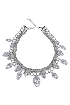Exaggerated Crystals Skeleton Collar Necklace N2002 - Silver