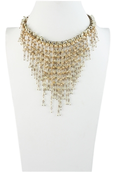 Faceted Crystal Tassel Collar Statement Necklace N2029