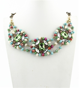 Three Rows Crystal Necklaces N2077 - Multi-Color