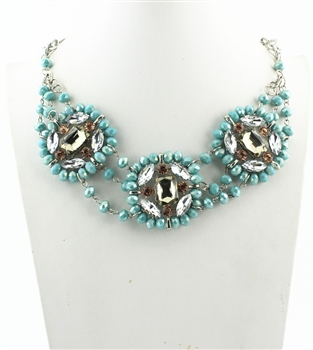 Three Rows Crystal Necklaces N2077 - Blue