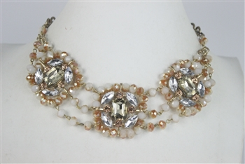 Three Rows Crystal Necklaces N2077 - Champagne
