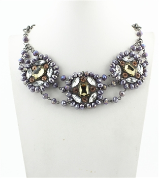 Three Rows Crystal Necklaces N2077 - Purple
