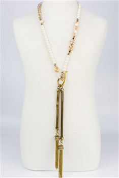 Crystal Long Tassel Necklaces N2117 - Champagne